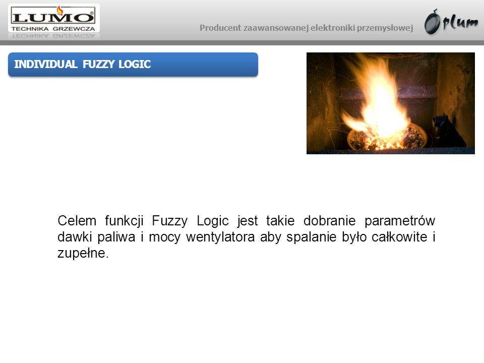 Producent zaawansowanej elektroniki przemysłowej INDIVIDUAL FUZZY LOGIC II FAZA: Dobór optymalnej mocy wentylatora dla strumienia paliwa wg wykresu charakterystyki cieplno-emisyjnej zapewniający jak najniższy poziom CO.