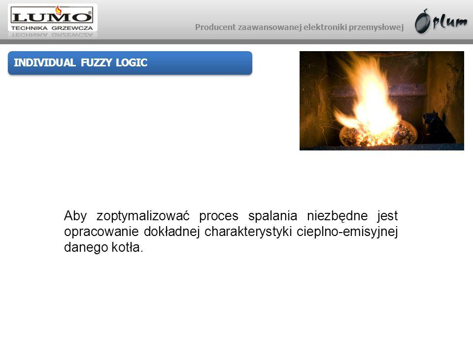 Producent zaawansowanej elektroniki przemysłowej INDIVIDUAL FUZZY LOGIC Trójwymiarowa charakterystyka cieplno-emisyjna uwzględnia zależność strumienia paliwa (moc), wielkość nadmuchu i uzyskiwanej emisyjności CO.