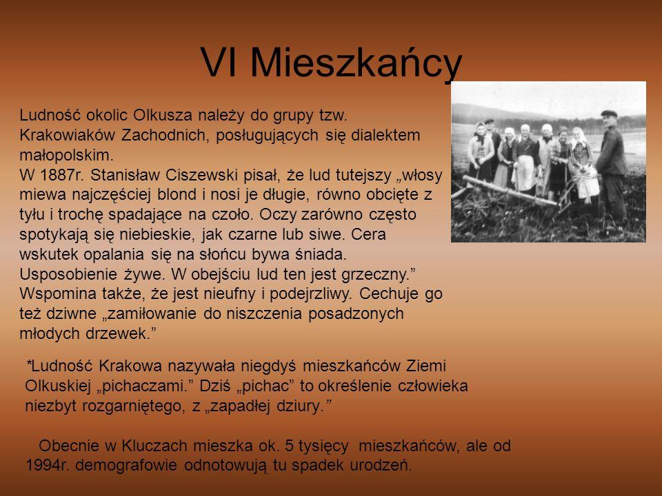 VI Mieszkańcy Ludność okolic Olkusza należy do grupy tzw. Krakowiaków Zachodnich, posługujących się dialektem małopolskim. W 1887r. Stanisław Ciszewsk