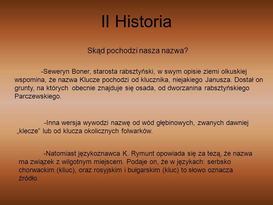 II Historia -Seweryn Boner, starosta rabsztyński, w swym opisie ziemi olkuskiej wspomina, że nazwa Klucze pochodzi od klucznika, niejakiego Janusza. D