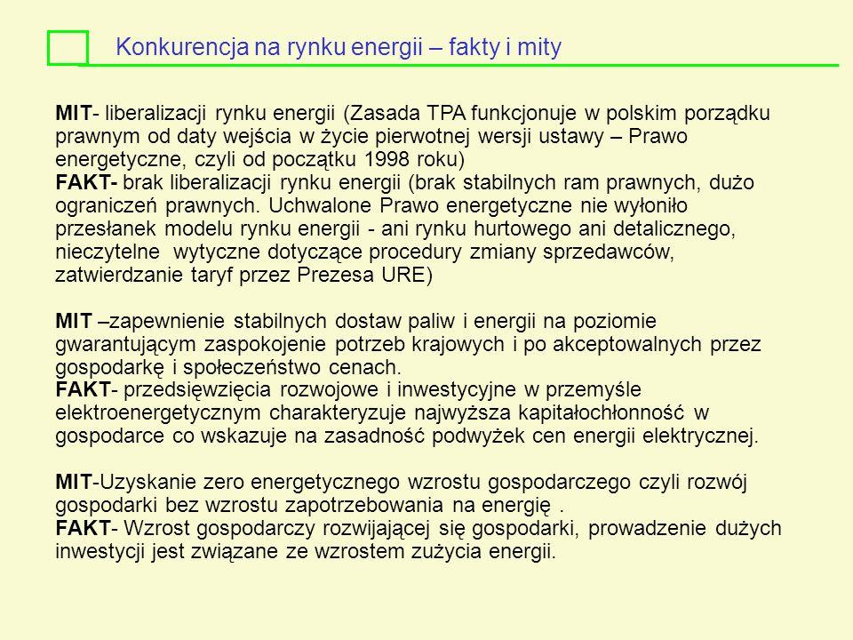 MIT- liberalizacji rynku energii (Zasada TPA funkcjonuje w polskim porządku prawnym od daty wejścia w życie pierwotnej wersji ustawy – Prawo energetyc