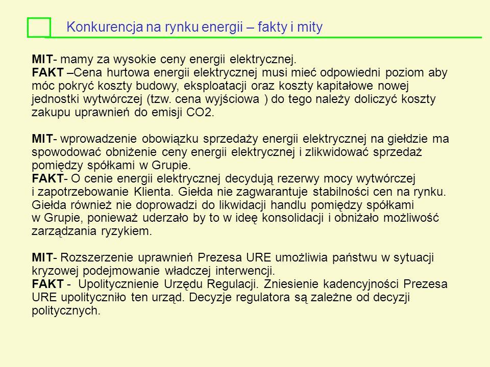 MIT- mamy za wysokie ceny energii elektrycznej. FAKT –Cena hurtowa energii elektrycznej musi mieć odpowiedni poziom aby móc pokryć koszty budowy, eksp