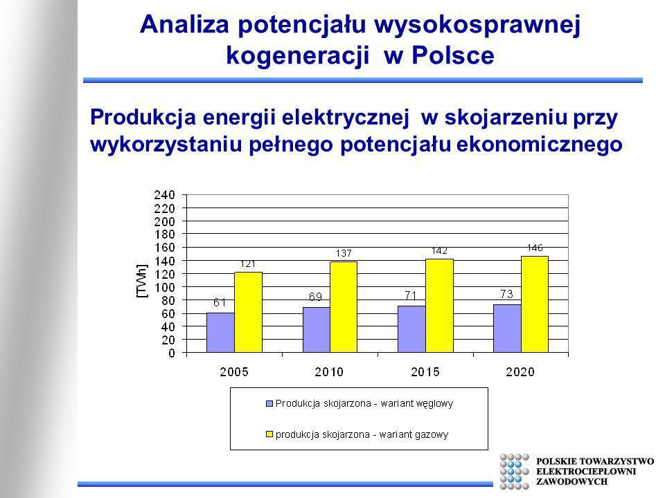 Analiza potencjału wysokosprawnej kogeneracji w Polsce Produkcja energii elektrycznej w skojarzeniu przy wykorzystaniu pełnego potencjału ekonomiczneg