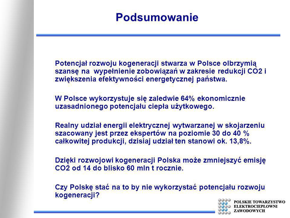 Podsumowanie Potencjał rozwoju kogeneracji stwarza w Polsce olbrzymią szansę na wypełnienie zobowiązań w zakresie redukcji CO2 i zwiększenia efektywno