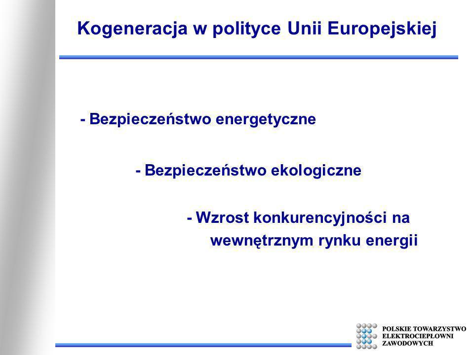 - Bezpieczeństwo energetyczne Kogeneracja w polityce Unii Europejskiej - Bezpieczeństwo ekologiczne - Wzrost konkurencyjności na wewnętrznym rynku ene