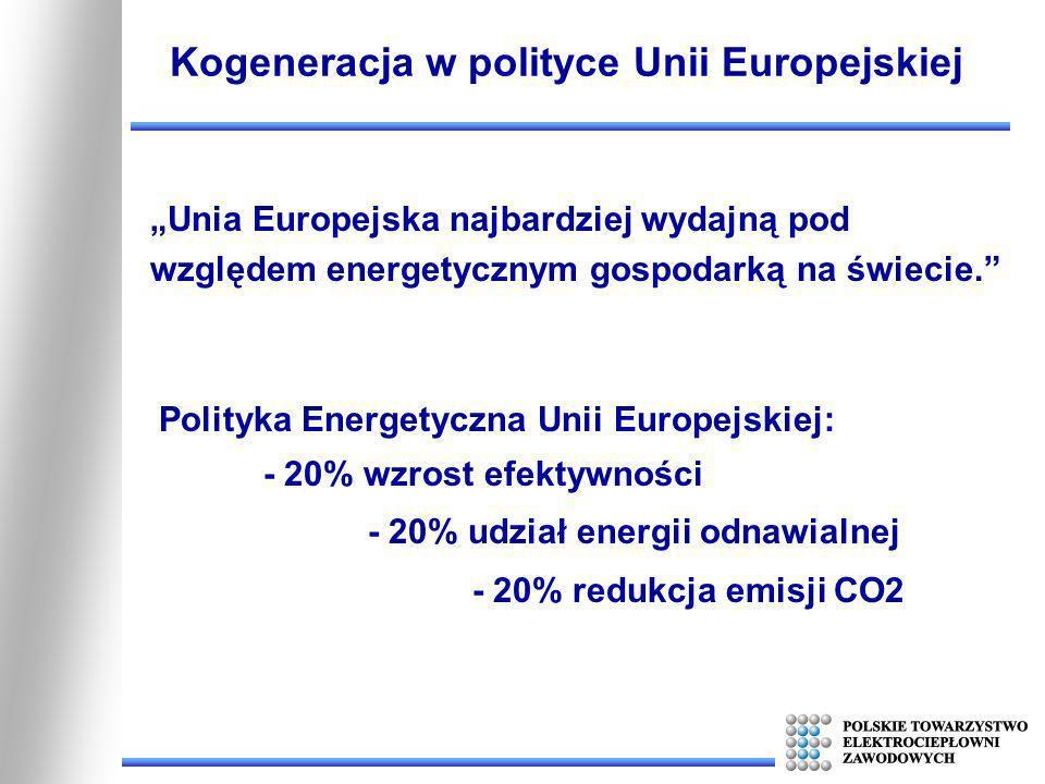 Unia Europejska najbardziej wydajną pod względem energetycznym gospodarką na świecie. Kogeneracja w polityce Unii Europejskiej Polityka Energetyczna U