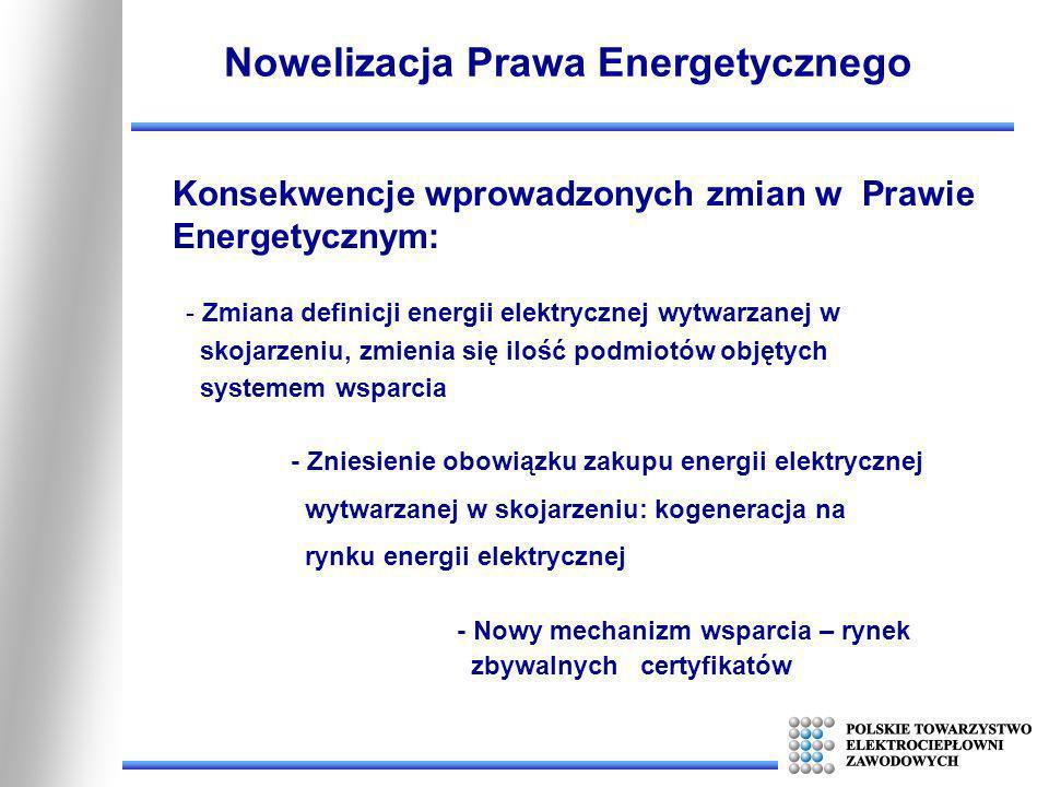 Konsekwencje wprowadzonych zmian w Prawie Energetycznym: Nowelizacja Prawa Energetycznego - Zmiana definicji energii elektrycznej wytwarzanej w skojar