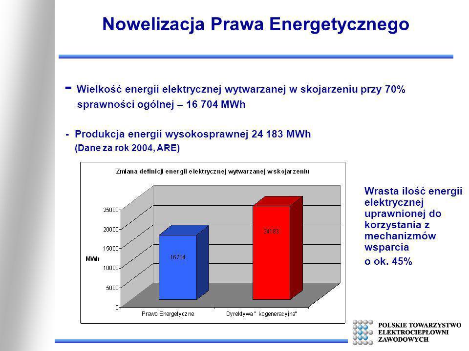 Nowelizacja Prawa Energetycznego - Wielkość energii elektrycznej wytwarzanej w skojarzeniu przy 70% sprawności ogólnej – 16 704 MWh - Produkcja energi