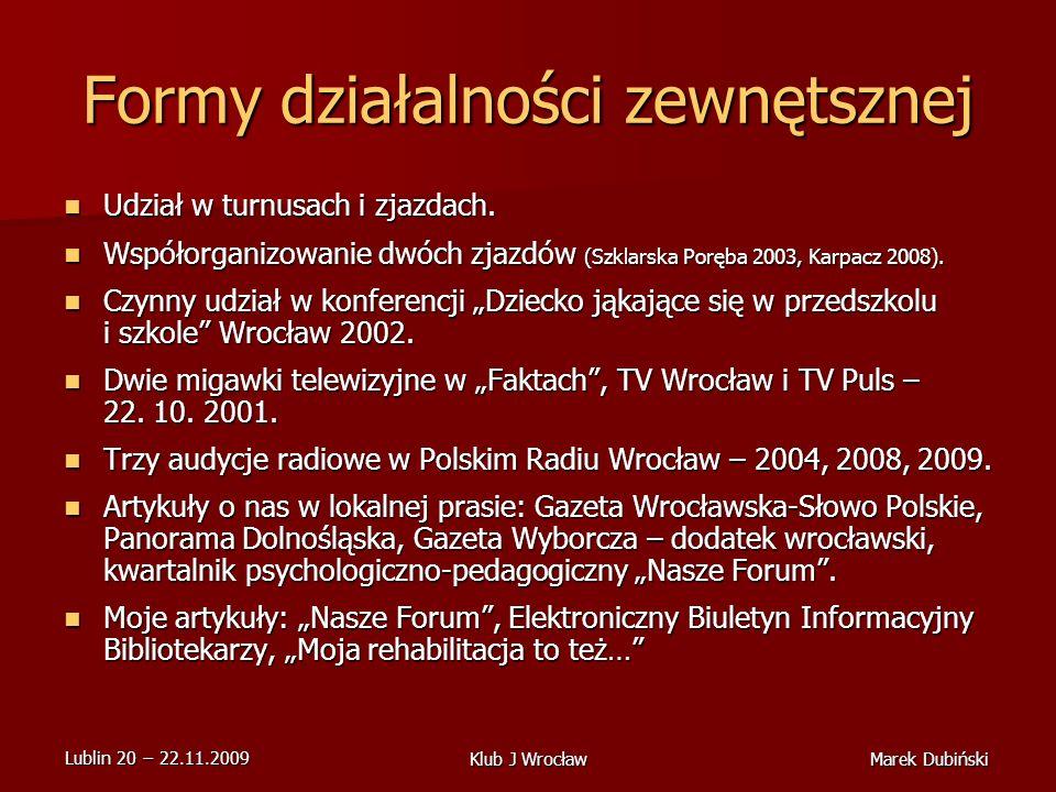 Lublin 20 22.11.2009 Marek DubińskiKlub J Wrocław Formy działalności zewnętsznej Udział w turnusach i zjazdach.