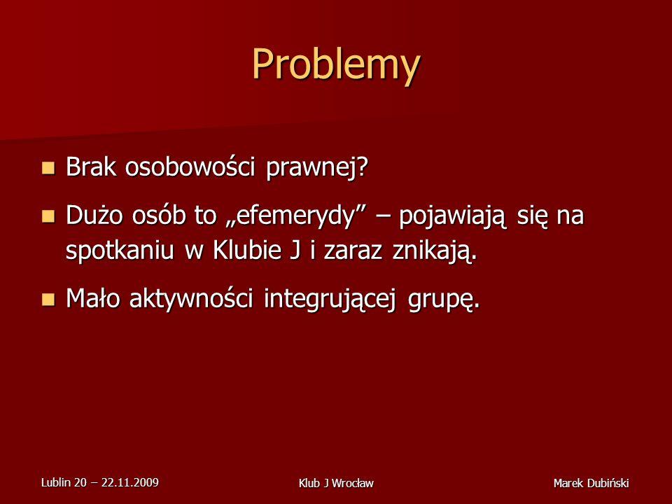 Lublin 20 22.11.2009 Marek DubińskiKlub J Wrocław Problemy Brak osobowości prawnej.