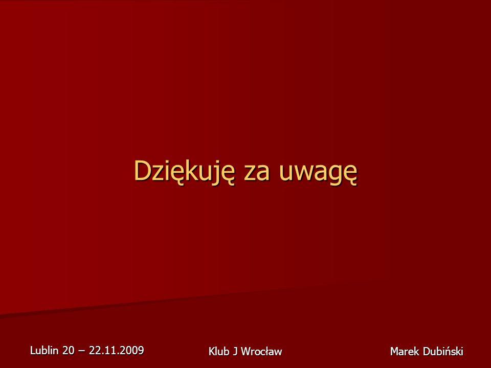 Lublin 20 22.11.2009 Marek Dubiński Klub J Wrocław Dziękuję za uwagę