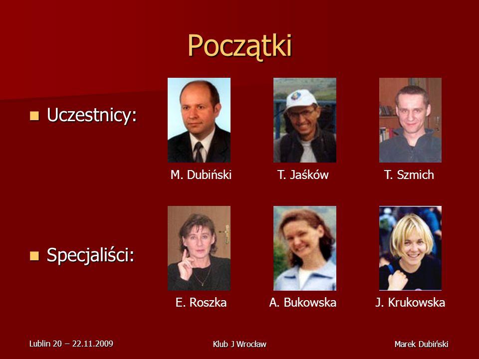 Lublin 20 22.11.2009 Marek DubińskiKlub J Wrocław Początki Uczestnicy: Uczestnicy: Specjaliści: Specjaliści: M.