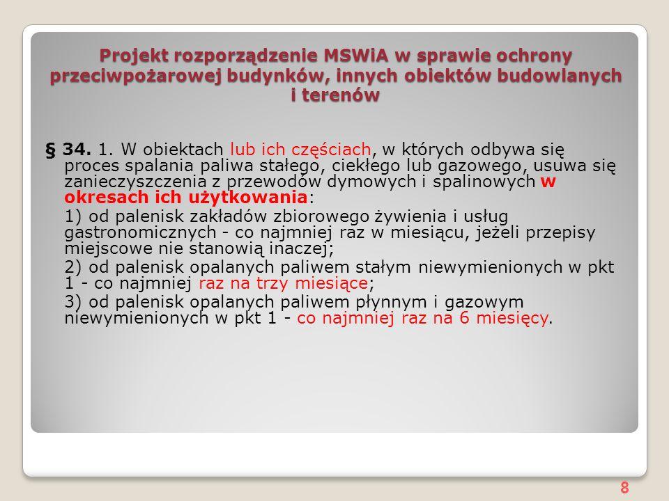 8 Projekt rozporządzenie MSWiA w sprawie ochrony przeciwpożarowej budynków, innych obiektów budowlanych i terenów § 34.