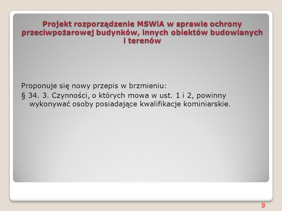 9 Projekt rozporządzenie MSWiA w sprawie ochrony przeciwpożarowej budynków, innych obiektów budowlanych i terenów Proponuje się nowy przepis w brzmieniu: § 34.