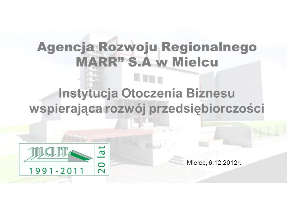 Agencja Rozwoju Regionalnego MARR S.A w Mielcu Instytucja Otoczenia Biznesu wspierająca rozwój przedsiębiorczości Mielec, 6.12.2012r.
