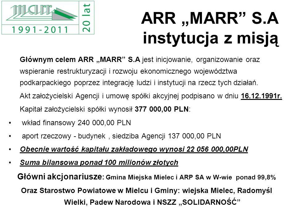 ARR MARR S.A instytucja z misją Głównym celem ARR MARR S.A jest inicjowanie, organizowanie oraz wspieranie restrukturyzacji i rozwoju ekonomicznego wo