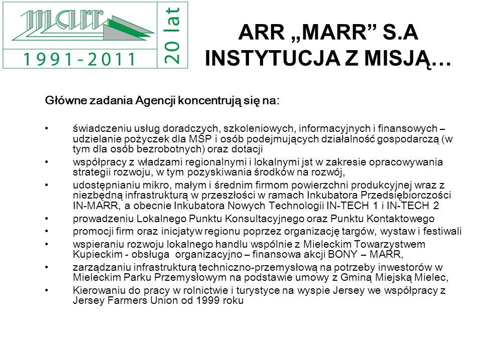 ARR MARR S.A INSTYTUCJA Z MISJĄ… Główne zadania Agencji koncentrują się na: świadczeniu usług doradczych, szkoleniowych, informacyjnych i finansowych