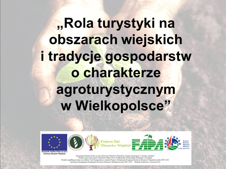 Trudna sytuacja wsi polskiej 8% ludności związanej z działalnością rolniczą czerpie swe dochody wyłącznie z rolnictwa * dla 27,4% ludności wiejskiej działalność rolnicza stanowi podstawowe źródło utrzymania * 47,5% gospodarstw rolnych w Polsce produkuje na rynek pozostałe ograniczyły produkcję tylko do samozaopatrzenia lub w ogóle zaniechały jej - 52,5% dochody z rolnictwa są zbyt małe, aby pozwoliły generować środki na dalszy rozwój