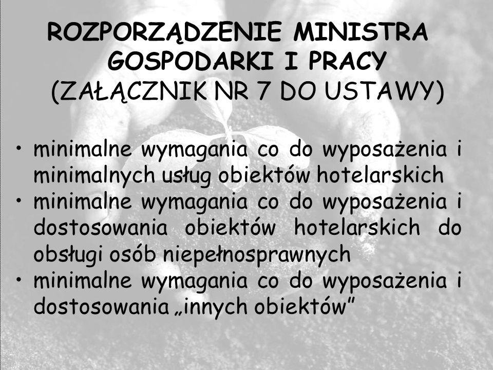 ROZPORZĄDZENIE MINISTRA GOSPODARKI I PRACY (ZAŁĄCZNIK NR 7 DO USTAWY) minimalne wymagania co do wyposażenia i minimalnych usług obiektów hotelarskich