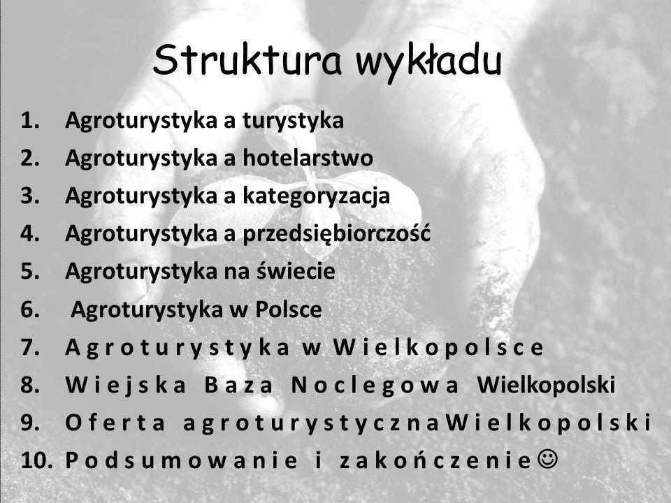 Struktura wykładu 1.Agroturystyka a turystyka 2.Agroturystyka a hotelarstwo 3.Agroturystyka a kategoryzacja 4.Agroturystyka a przedsiębiorczość 5.Agro