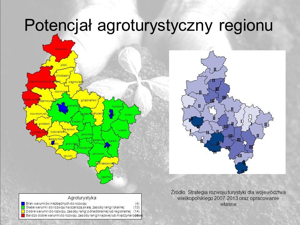 Potencjał agroturystyczny regionu Źródło: Strategia rozwoju turystyki dla województwa wielkopolskiego 2007-2013 oraz opracowanie własne