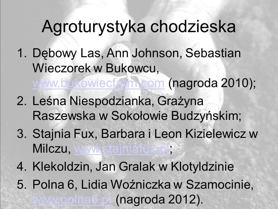 Agroturystyka chodzieska 1.Dębowy Las, Ann Johnson, Sebastian Wieczorek w Bukowcu, www.bukowiecfarm.com (nagroda 2010); www.bukowiecfarm.com 2.Leśna N