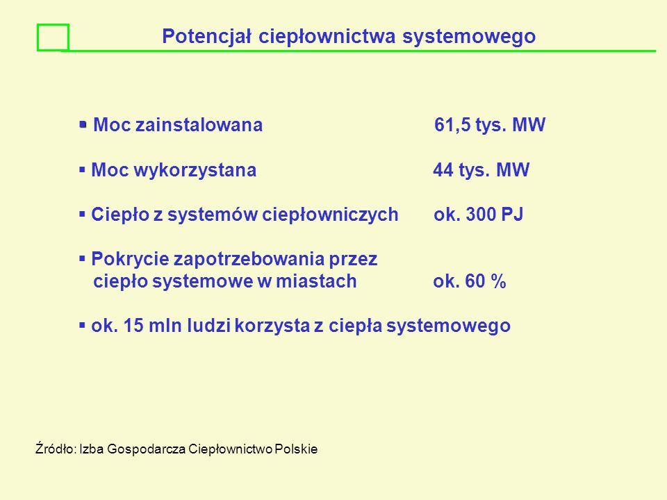 Potencjał ciepłownictwa systemowego Moc zainstalowana 61,5 tys. MW Moc wykorzystana 44 tys. MW Ciepło z systemów ciepłowniczych ok. 300 PJ Pokrycie za