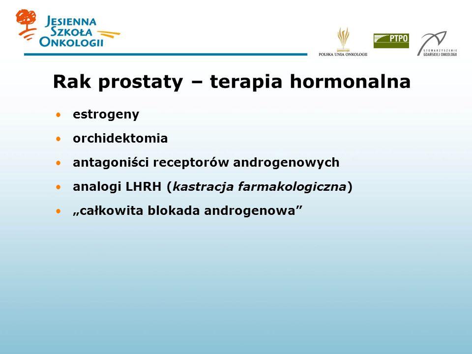 Rak prostaty – terapia hormonalna estrogeny orchidektomia antagoniści receptorów androgenowych analogi LHRH (kastracja farmakologiczna) całkowita blok