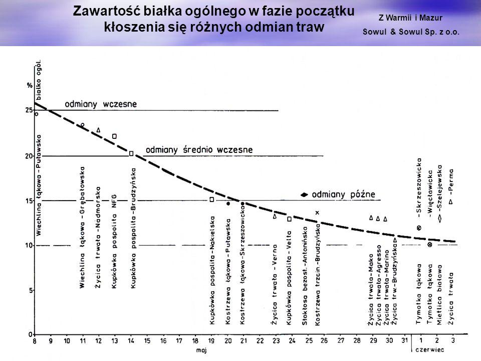 Zawartość białka ogólnego w fazie początku kłoszenia się różnych odmian traw Z Warmii i Mazur Sowul & Sowul Sp. z o.o.