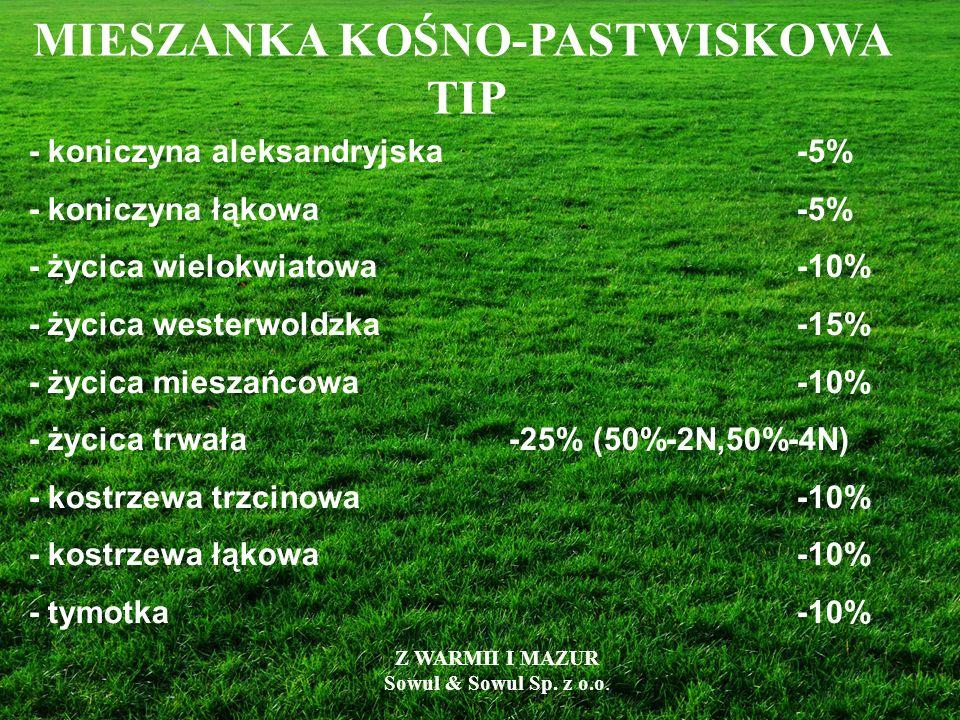 - koniczyna aleksandryjska-5% - koniczyna łąkowa -5% - życica wielokwiatowa-10% - życica westerwoldzka-15% - życica mieszańcowa-10% - życica trwała-25
