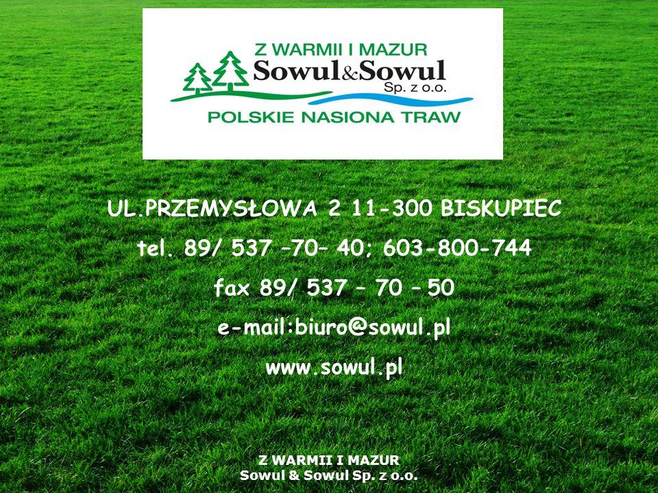 Z WARMII I MAZUR Sowul & Sowul Sp. z o.o. UL.PRZEMYSŁOWA 2 11-300 BISKUPIEC tel. 89/ 537 –70– 40; 603-800-744 fax 89/ 537 – 70 – 50 e-mail:biuro@sowul