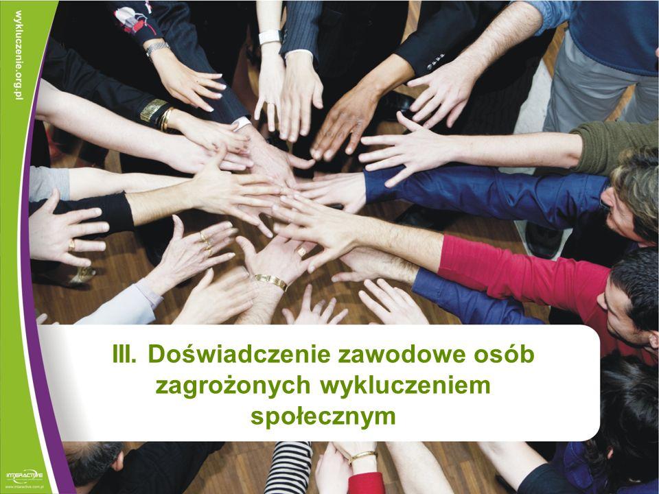 III. Doświadczenie zawodowe osób zagrożonych wykluczeniem społecznym