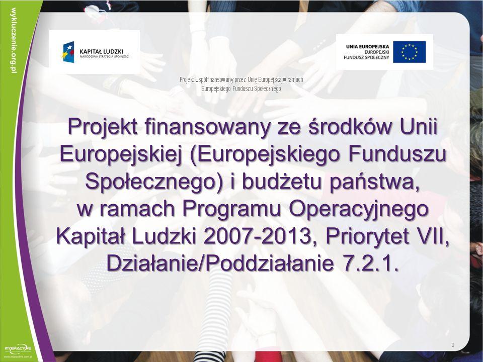 Projekt finansowany ze środków Unii Europejskiej (Europejskiego Funduszu Społecznego) i budżetu państwa, w ramach Programu Operacyjnego Kapitał Ludzki 2007-2013, Priorytet VII, Działanie/Poddziałanie 7.2.1.