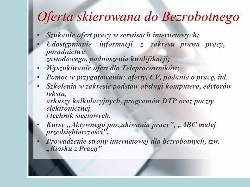 Oferta skierowana do Bezrobotnego Szukanie ofert pracy w serwisach internetowych; Udostępnianie informacji z zakresu prawa pracy, poradnictwa zawodowego, podnoszenia kwalifikacji; Wyszukiwanie ofert dla Telepracowników; Pomoc w przygotowaniu: oferty, CV, podania o pracę, itd.