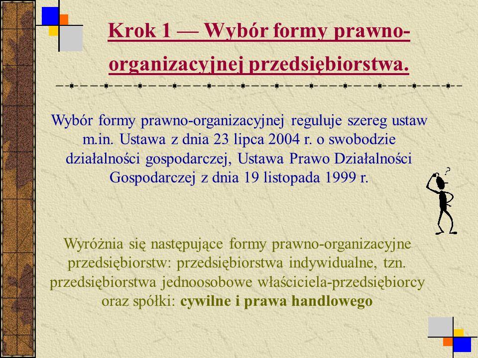 Krok 1 Wybór formy prawno- organizacyjnej przedsiębiorstwa.