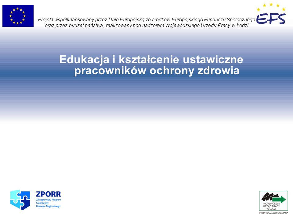 Projekt współfinansowany przez Unię Europejską ze środków Europejskiego Funduszu Społecznego oraz przez budżet państwa, realizowany pod nadzorem Wojewódzkiego Urzędu Pracy w Łodzi Edukacja i kształcenie ustawiczne pracowników ochrony zdrowia