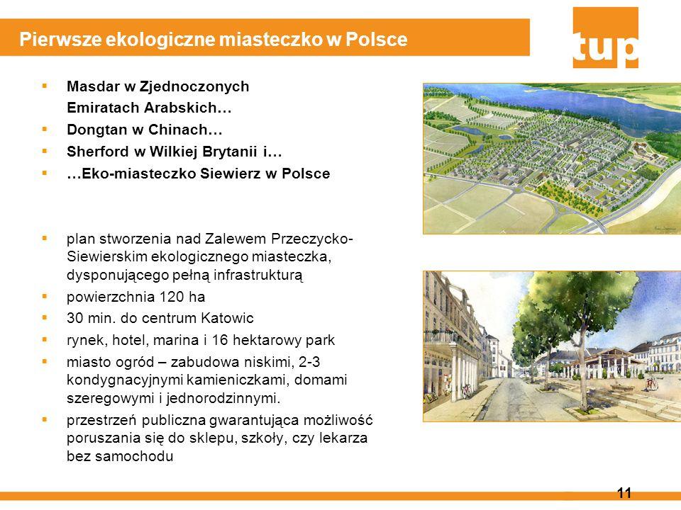 11 Pierwsze ekologiczne miasteczko w Polsce Masdar w Zjednoczonych Emiratach Arabskich… Dongtan w Chinach… Sherford w Wilkiej Brytanii i… …Eko-miastec