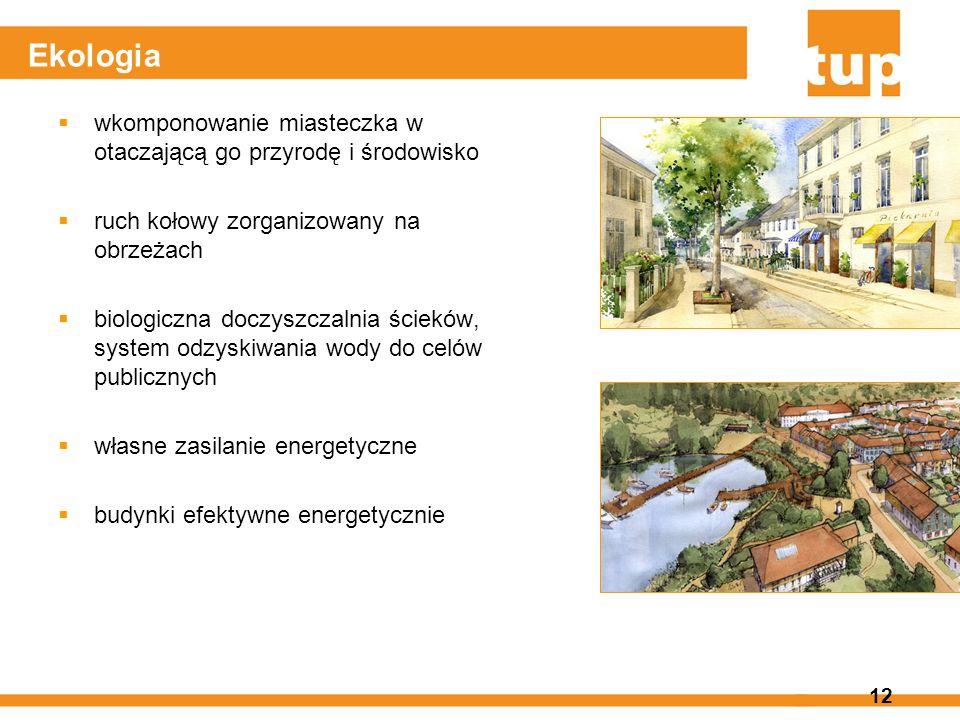 12 Ekologia wkomponowanie miasteczka w otaczającą go przyrodę i środowisko ruch kołowy zorganizowany na obrzeżach biologiczna doczyszczalnia ścieków,