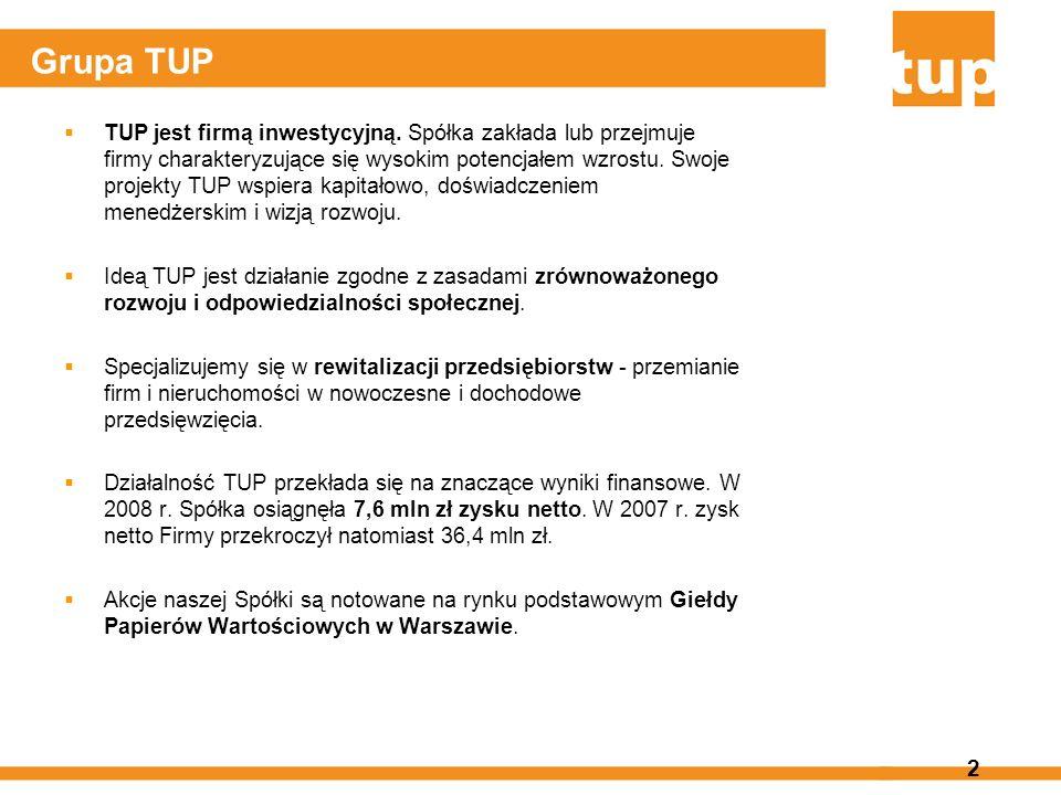 2 Grupa TUP TUP jest firmą inwestycyjną. Spółka zakłada lub przejmuje firmy charakteryzujące się wysokim potencjałem wzrostu. Swoje projekty TUP wspie