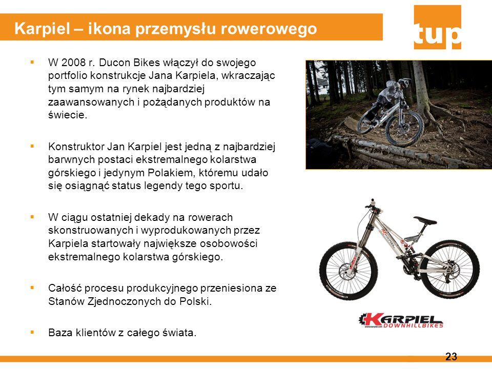 23 Karpiel – ikona przemysłu rowerowego W 2008 r. Ducon Bikes włączył do swojego portfolio konstrukcje Jana Karpiela, wkraczając tym samym na rynek na