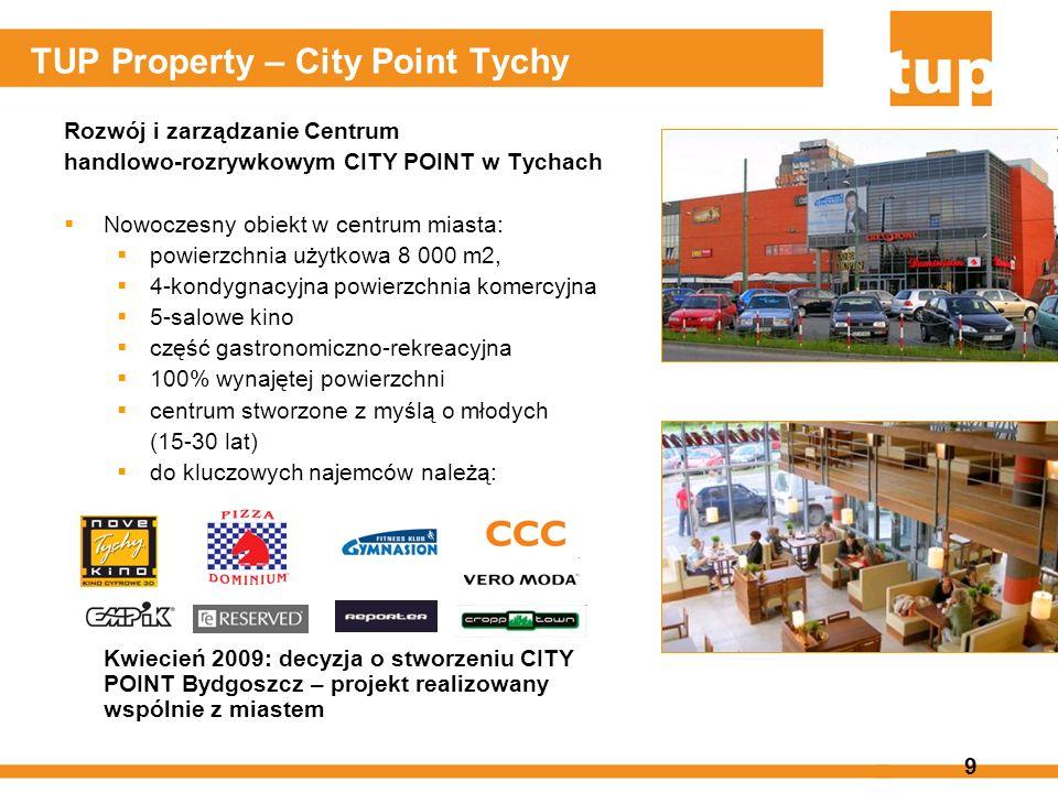 9 TUP Property – City Point Tychy Rozwój i zarządzanie Centrum handlowo-rozrywkowym CITY POINT w Tychach Nowoczesny obiekt w centrum miasta: powierzch