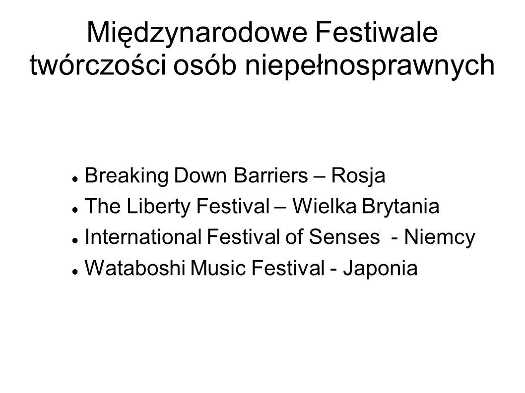 Międzynarodowe Festiwale twórczości osób niepełnosprawnych Breaking Down Barriers – Rosja The Liberty Festival – Wielka Brytania International Festiva