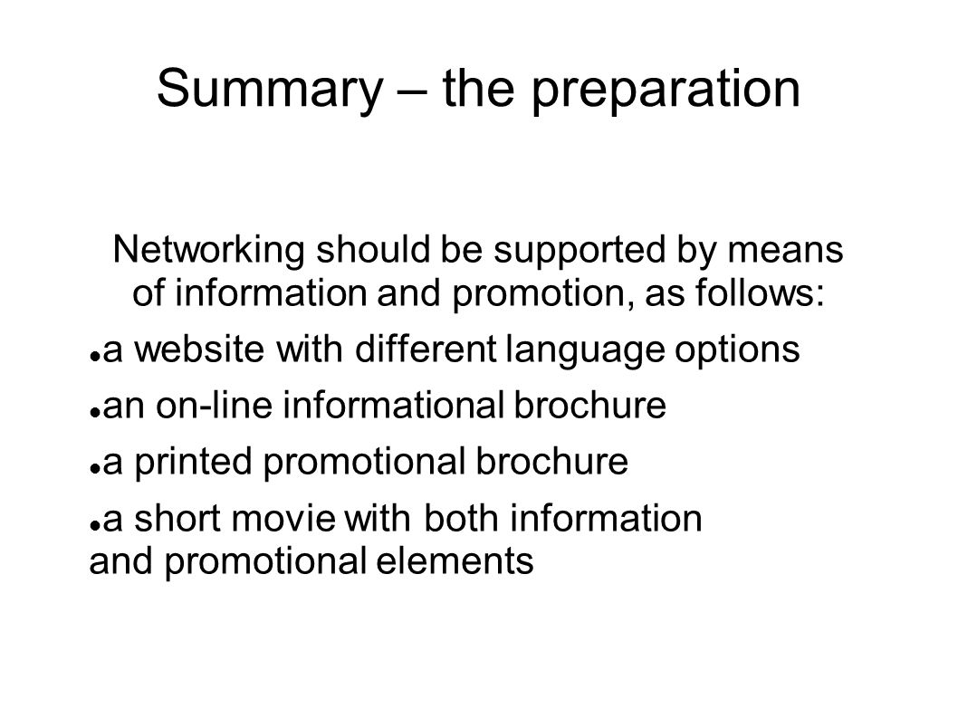 Summary – the preparation Networking should be supported by means of information and promotion, as follows: a website with different language options