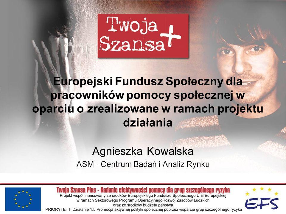 Europejski Fundusz Społeczny dla pracowników pomocy społecznej w oparciu o zrealizowane w ramach projektu działania Agnieszka Kowalska ASM - Centrum B