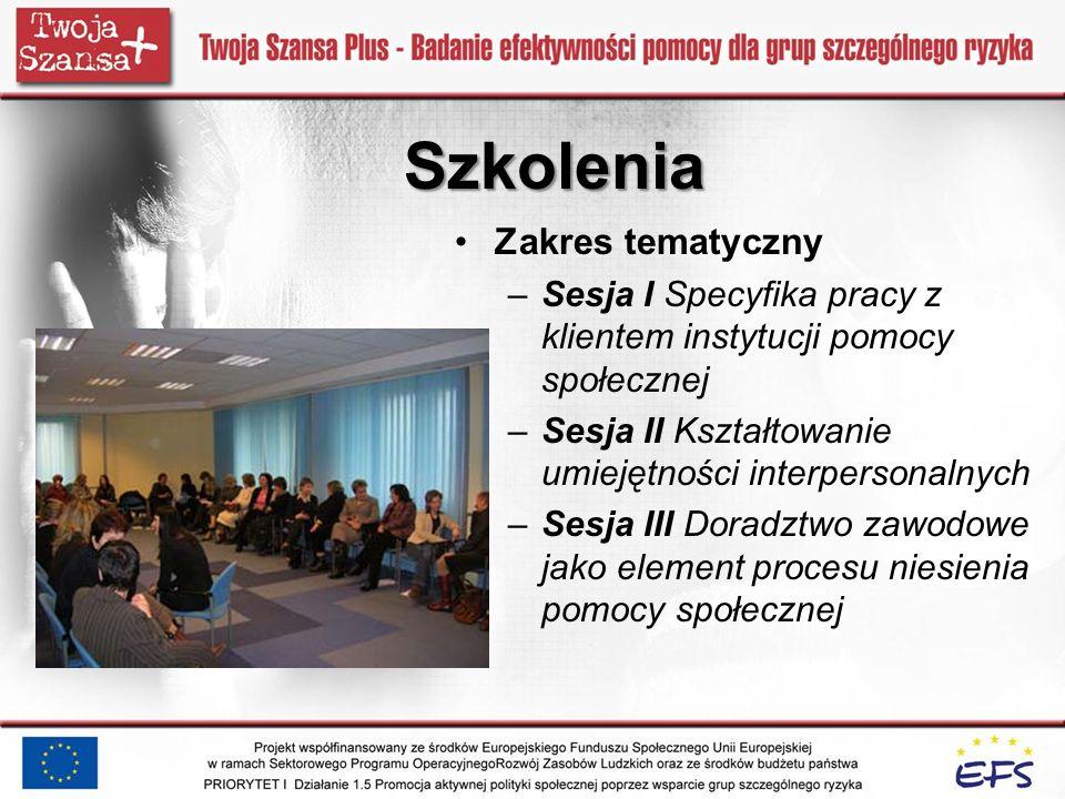 Szkolenia Zakres tematyczny –Sesja I Specyfika pracy z klientem instytucji pomocy społecznej –Sesja II Kształtowanie umiejętności interpersonalnych –S