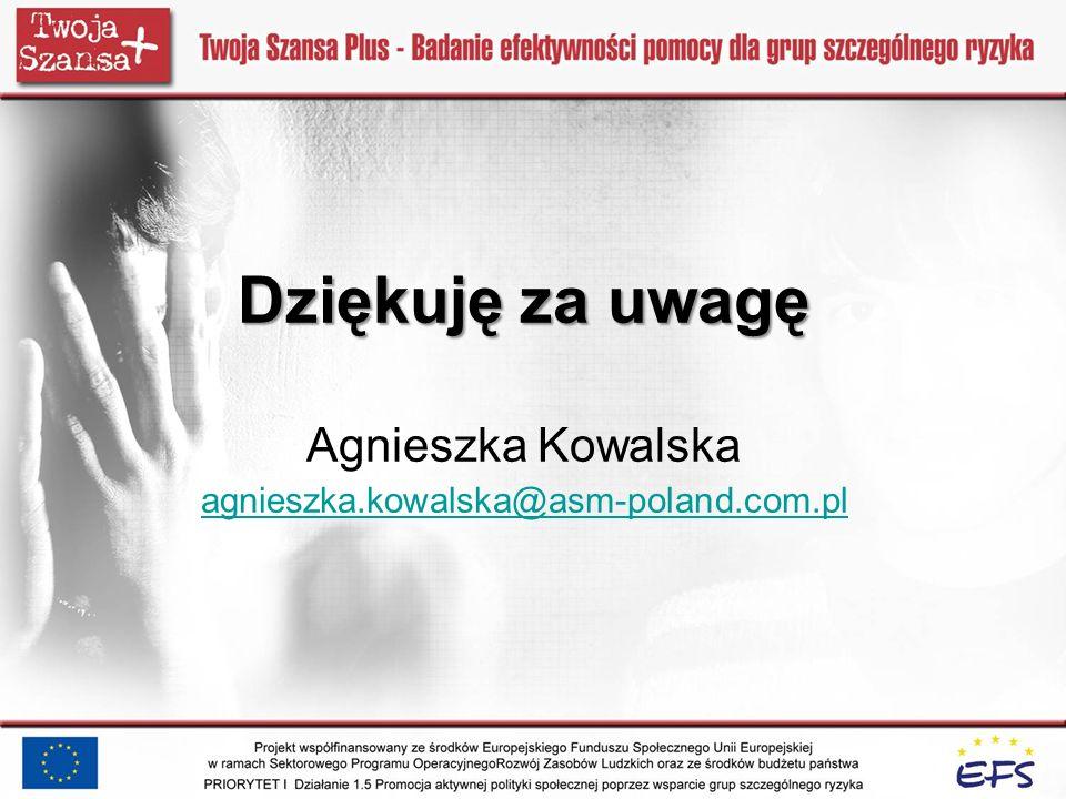 Dziękuję za uwagę Dziękuję za uwagę Agnieszka Kowalska agnieszka.kowalska@asm-poland.com.pl agnieszka.kowalska@asm-poland.com.pl