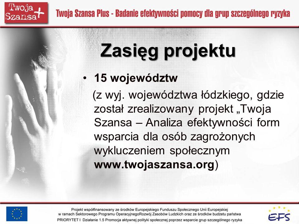 Zasięg projektu 15 województw (z wyj. województwa łódzkiego, gdzie został zrealizowany projekt Twoja Szansa – Analiza efektywności form wsparcia dla o