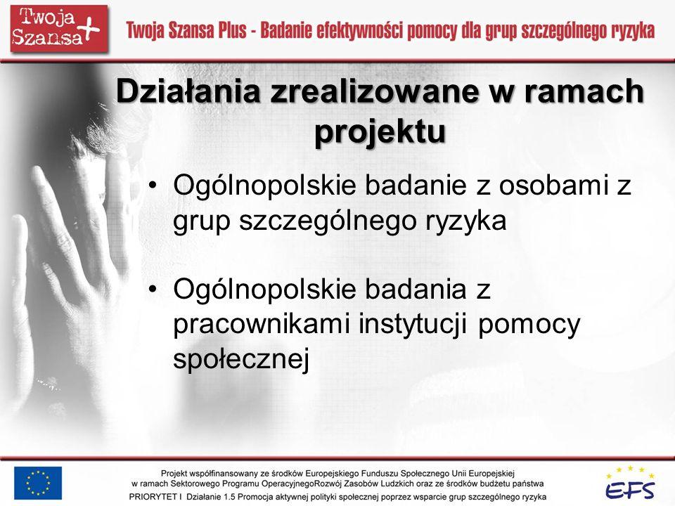 Ogólnopolskie badanie z osobami z grup szczególnego ryzyka Ogólnopolskie badania z pracownikami instytucji pomocy społecznej Działania zrealizowane w