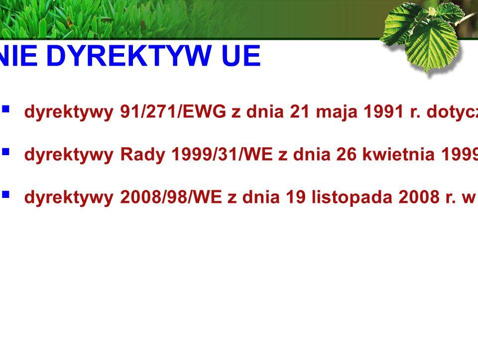 WPROWADZENIE DYREKTYW UE dyrektywy 91/271/EWG z dnia 21 maja 1991 r.