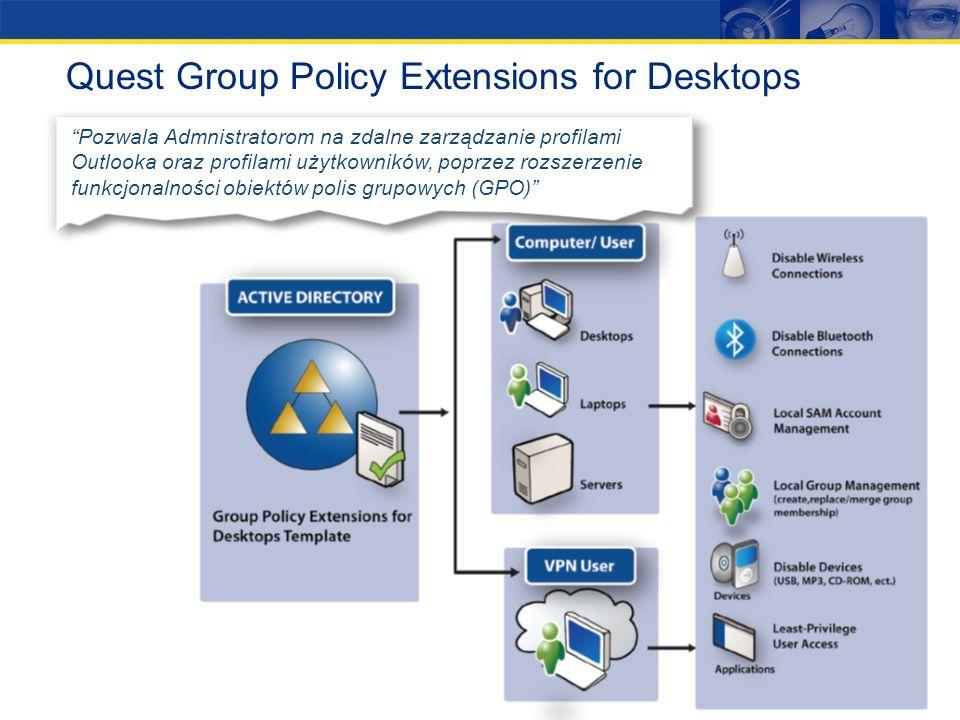 Quest Group Policy Manager Narzędzie do zarządzania obiektami polis grupowych (GPO) w środowisku AD umożliwiające offlineowe edytowanie tychże obiektó